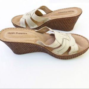 Hush Puppies Cream Leather Open Toe Wedge Sandals